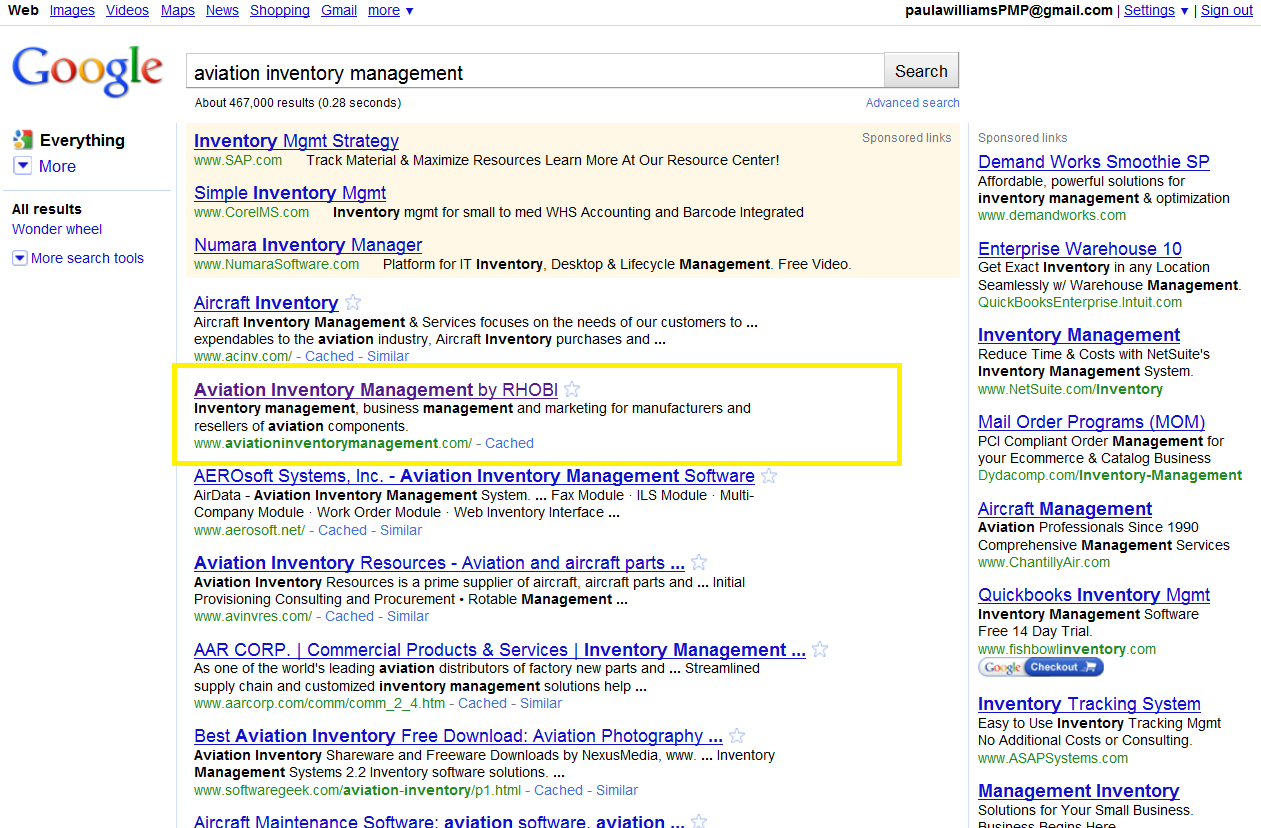 Google Search Results as of 5/14/2010