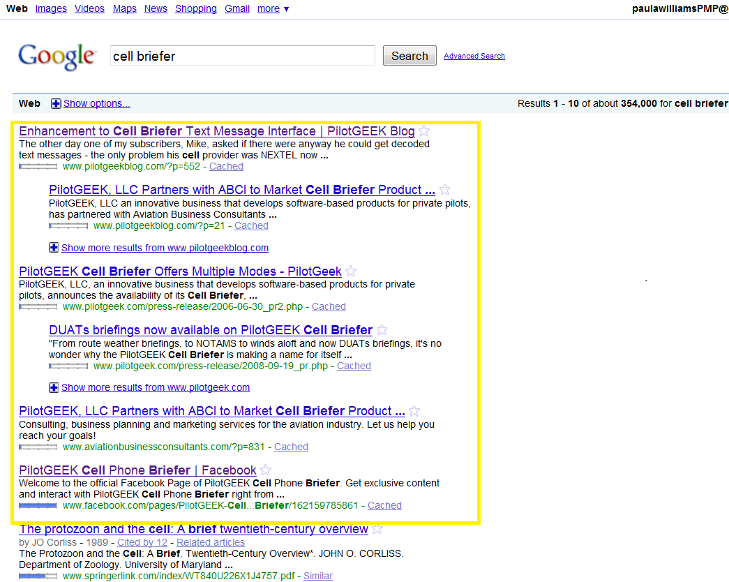 search engine optmization Google results as of 5/14 - Click to enlarge