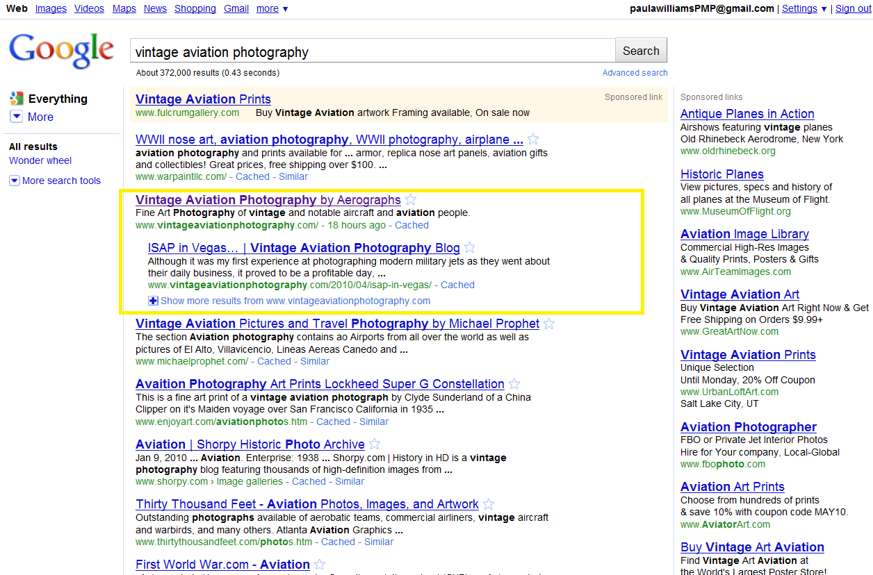 Search engine optimization - Google Search Results as of 5/14/2010
