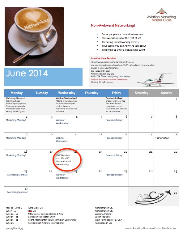 june 2014 aviation marketing calendar