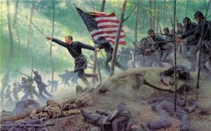 """""""Chamberlain's Charge, Little Round Top"""" By Mort Kunstler - Aviation content marketing"""