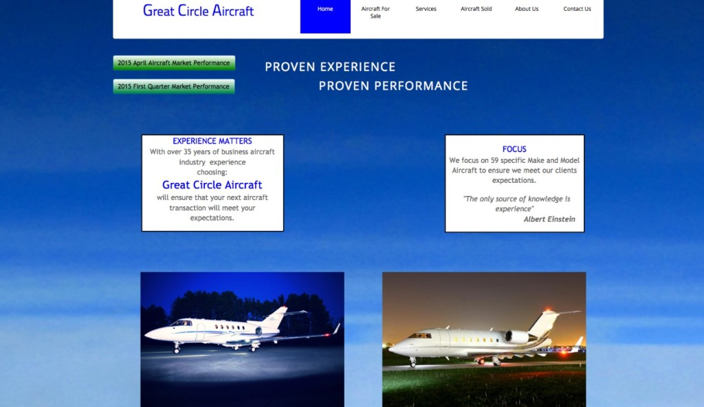 Aviation Marketing Website - Great Circle Old Site