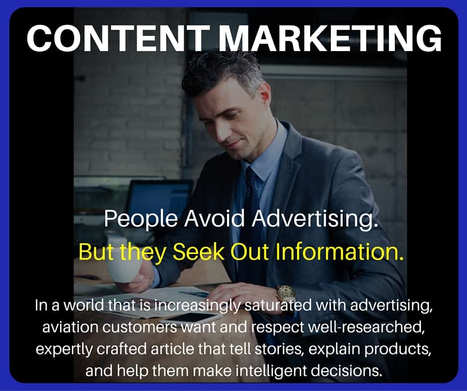 Aviation marketing content marketing product