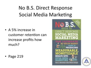 Book Club Discussion - No BS Social Media Marketing - 5% increase in retention