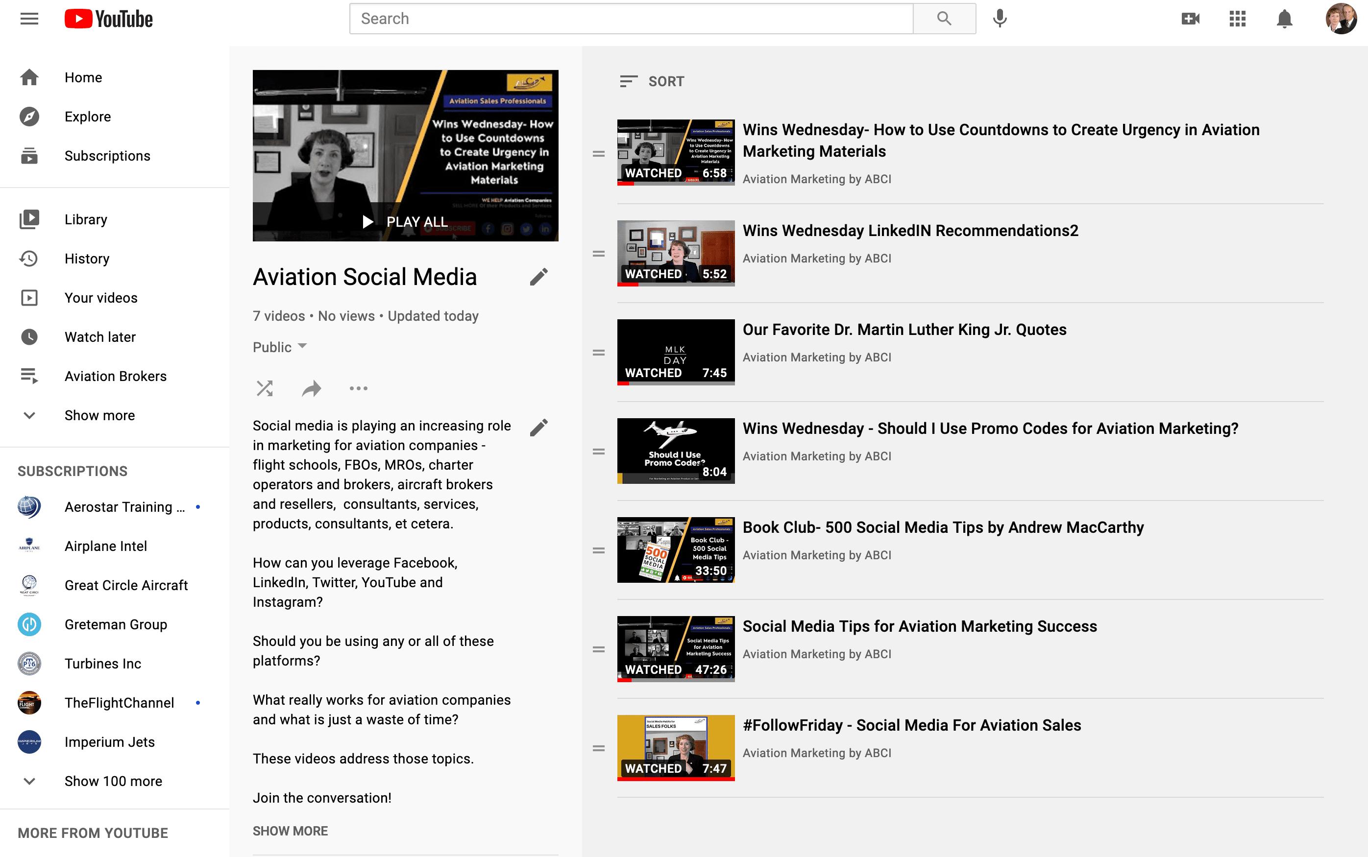 YouTube Playlist - Aviation Social Media