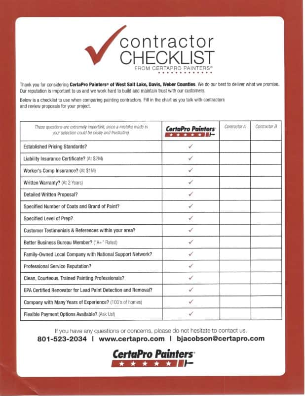how to prepare checklist for project