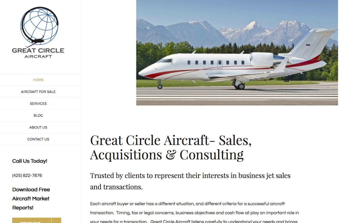 New website for Great Circle Aircraft