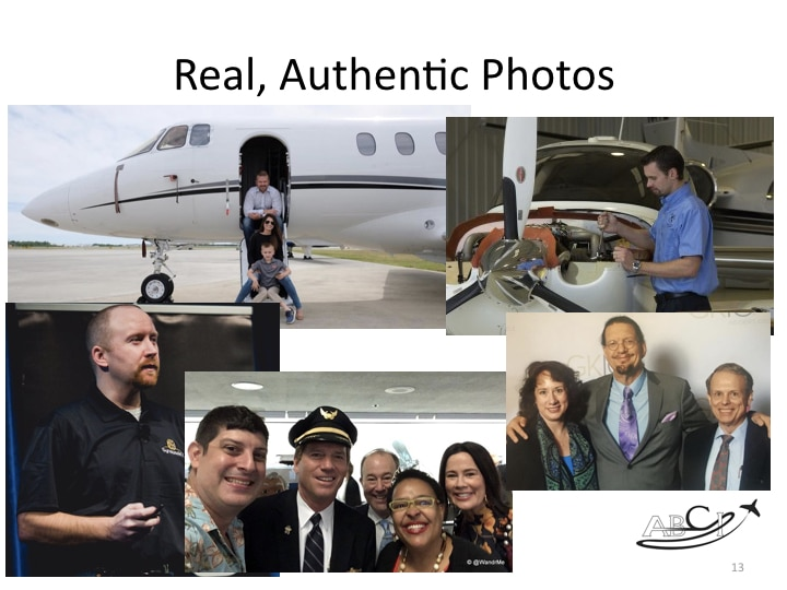 "Personal branding - Use real photos that show you ""doing your thing!"""