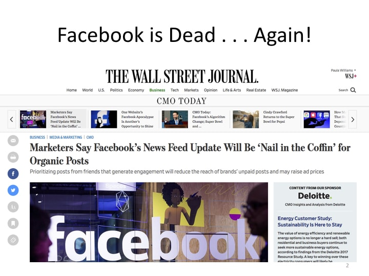 "WSJ reports that Facebooks News Feed Update will be a ""nail in the coffin"" for organic posts"