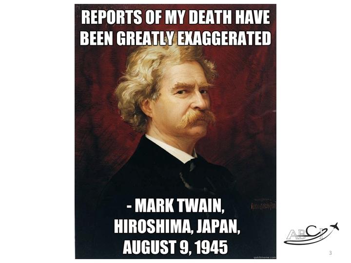 facebook marketing - is Facebook dead? (Mark Twain quote)