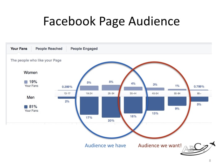 aviation facebook marketing - demographics of our company page