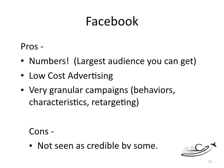 Aviation Facebook marketing - pros and cons