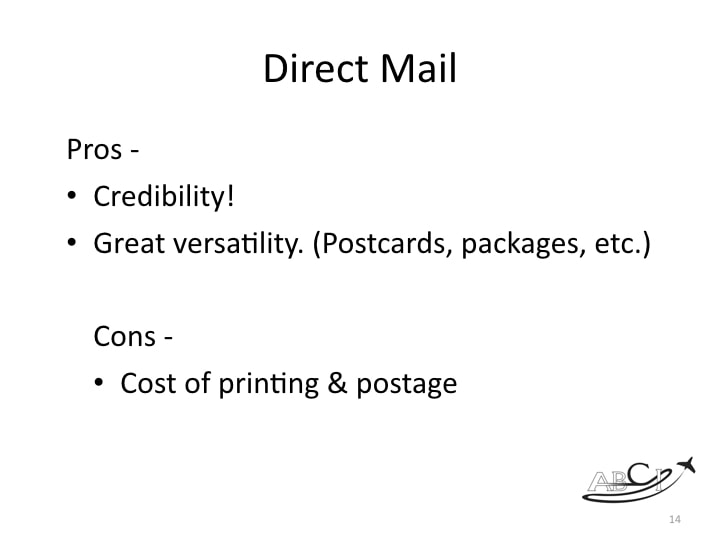 Aviation Facebook marketing - pros and cons of Direct Mail