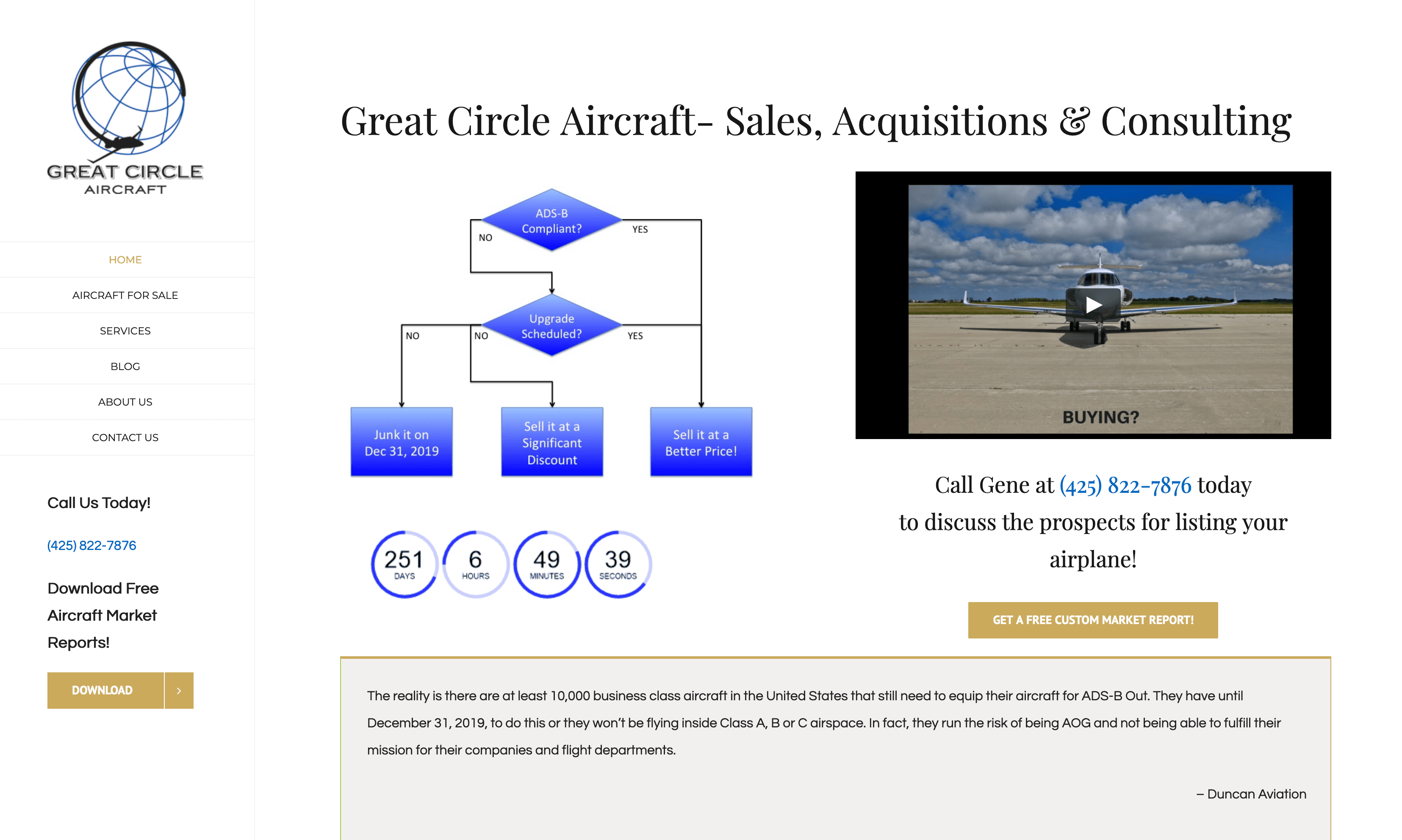 Aviation Web Site for Great Circle Aircraft Brokerage