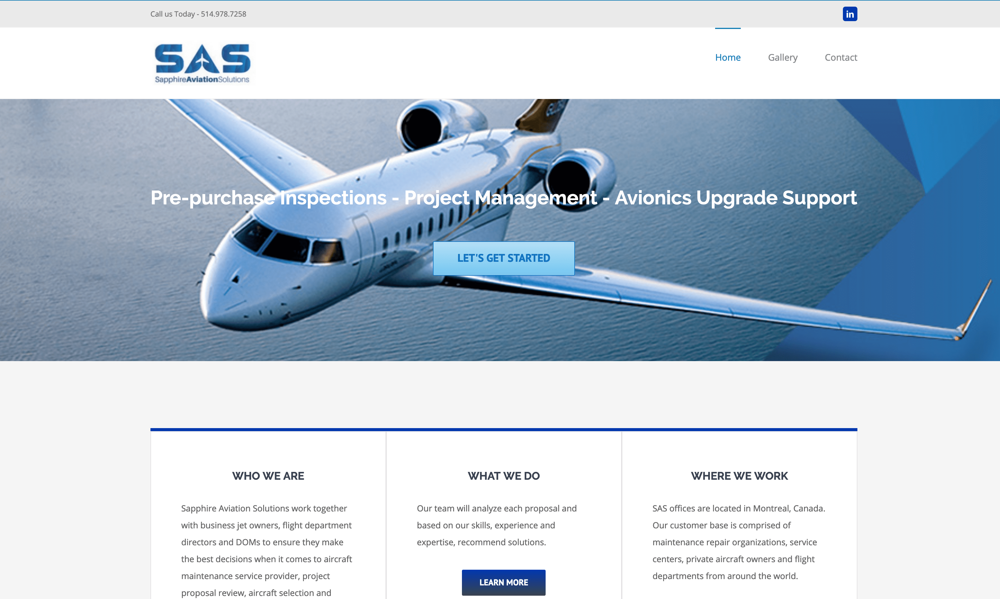 Aviation Web Site for Sapphire Aviation Solutions