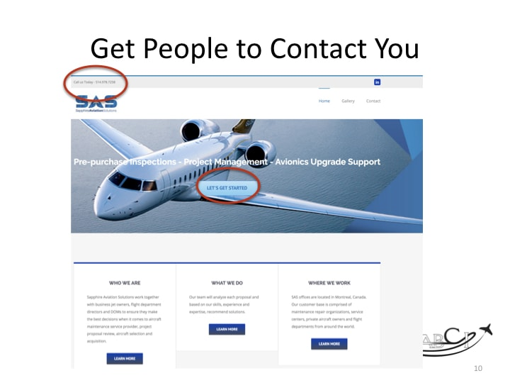 Aviation Web Sites- Get Customers To Take the Next Step