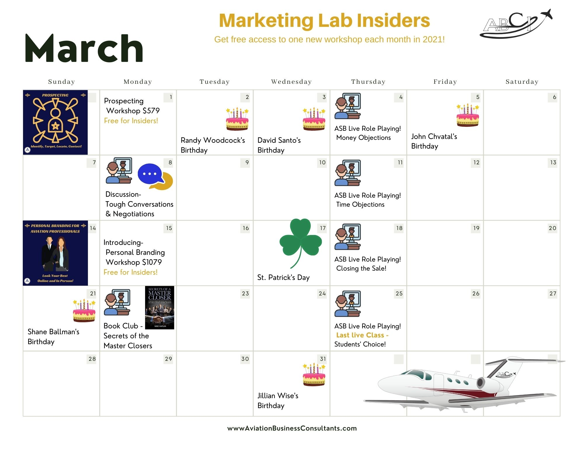Aviation Sales & Marketing Calendar March 2021