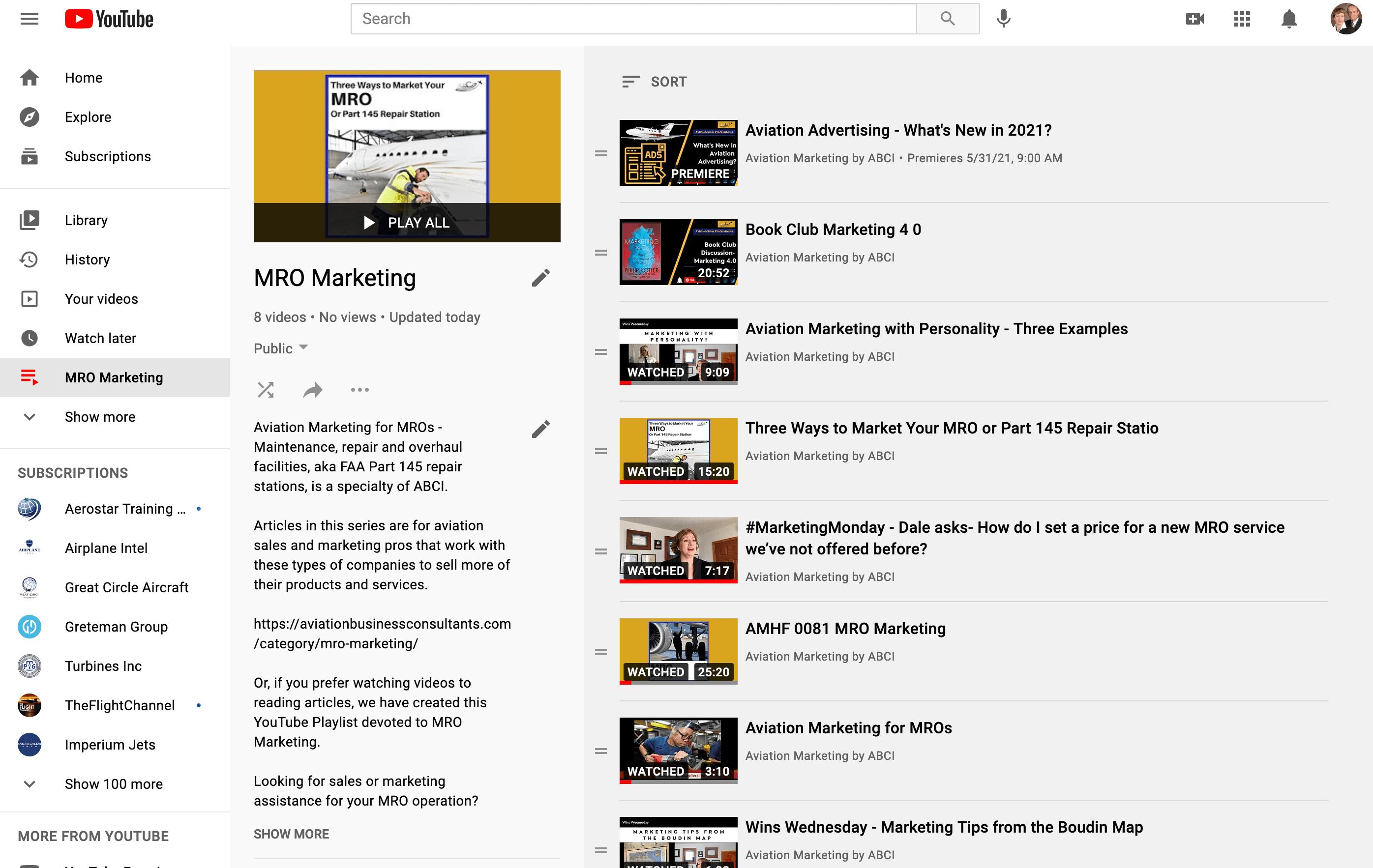 Aviation Marketing for MROs - the Youtube Playlist