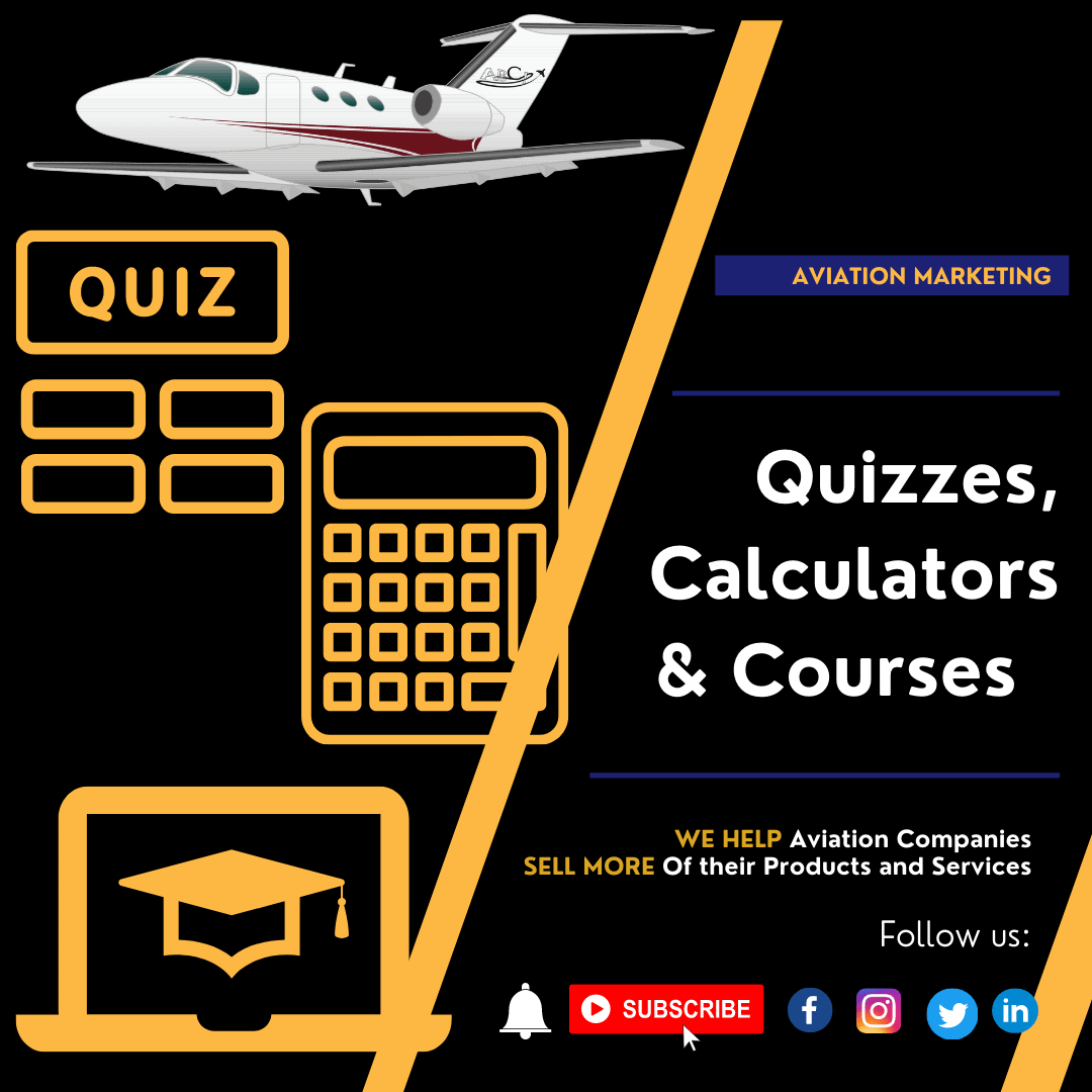 Aviation Marketing Quizzes, Calculators and Courses